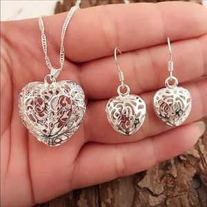 Jewelry - Heart Sterling Silver Earrings and Necklace Set